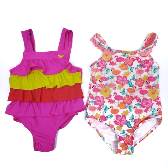 New Carter/'s Girls 1 Piece Swimsuit Pink Flamingo Print Floral NWT 24m 3T 4T
